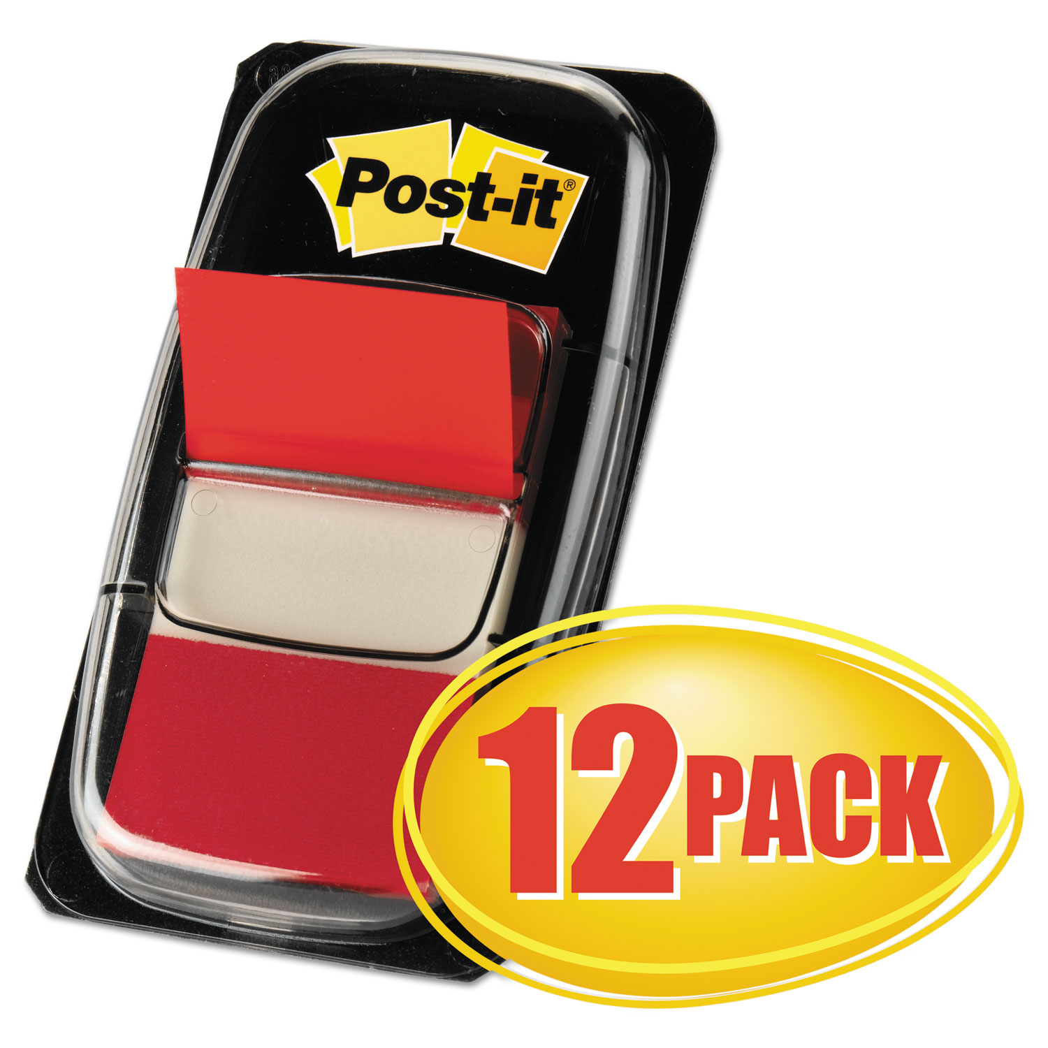 Marking Page Flags in Dispensers, Red, 50 Flags/Dispenser, 12 Dispensers/Pack