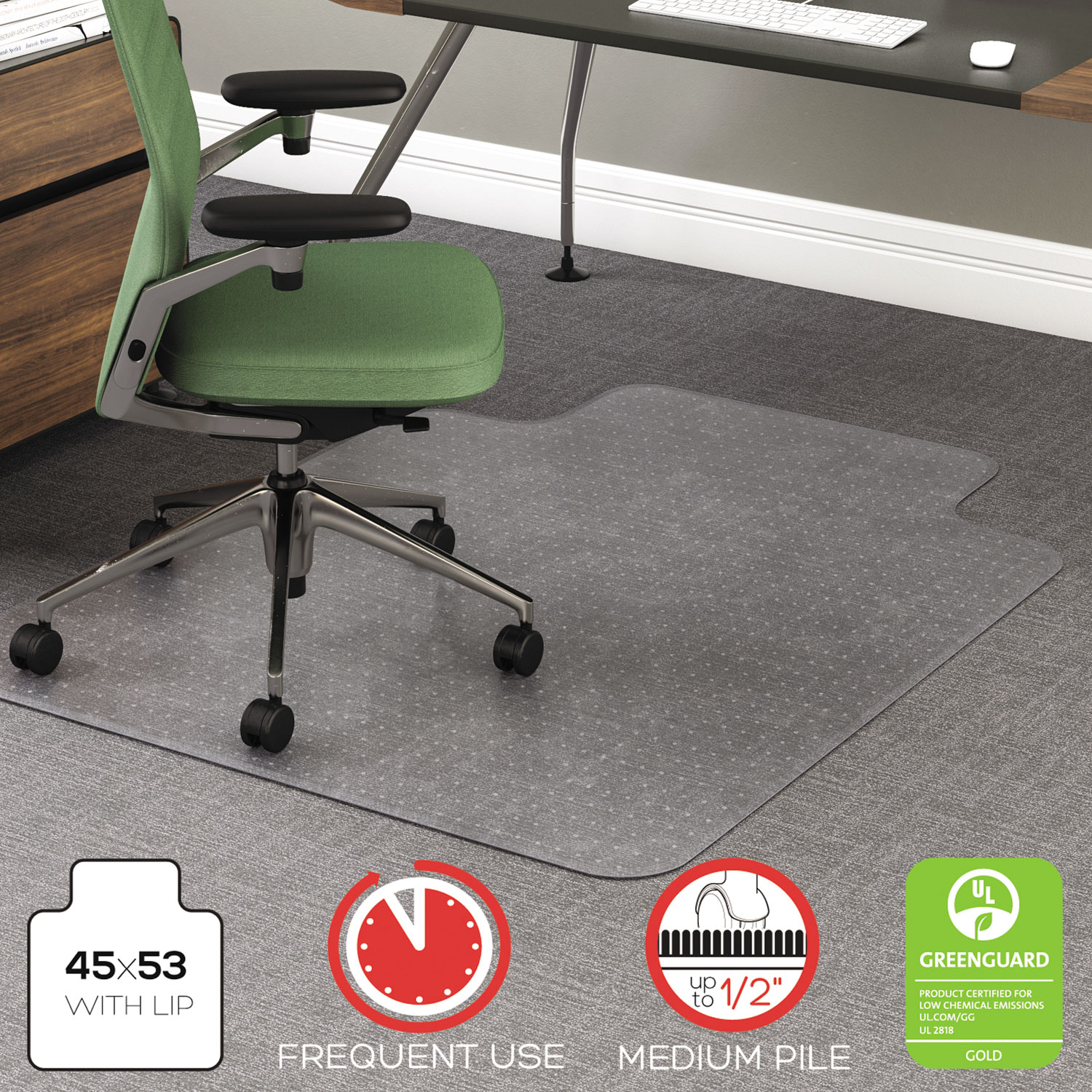 rollamat frequent use chair mat for high pile carpet by deflecto
