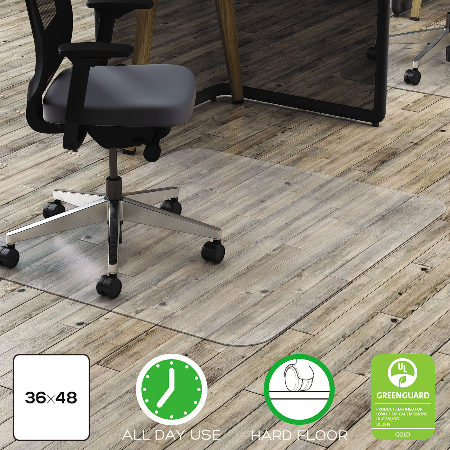 clear polycarbonate all day use chair mat for hard floor by