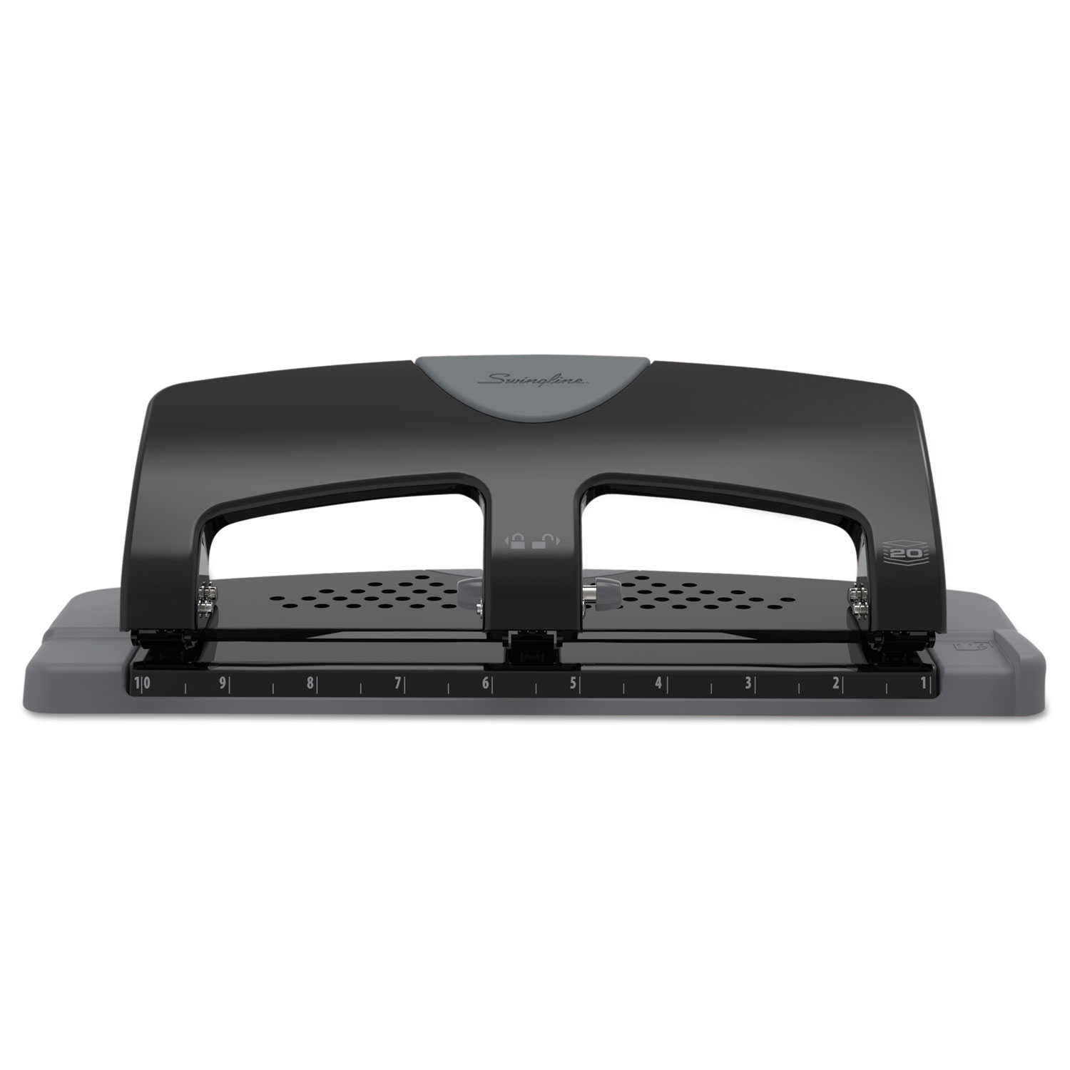 """20-Sheet SmartTouch Three-Hole Punch, 9/32"""" Holes, Black/Gray"""
