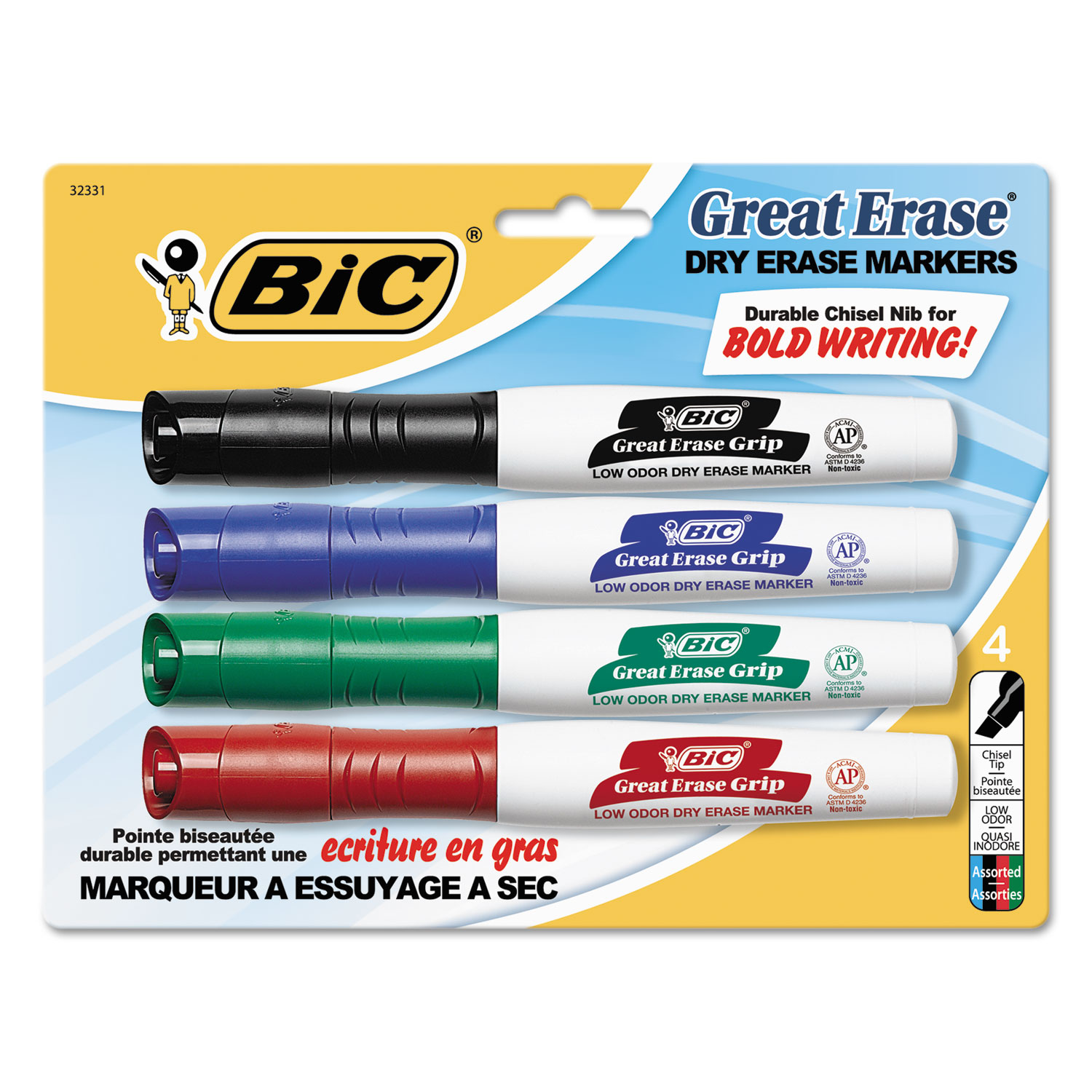 great erase grip chisel tip dry erase marker by bic bicgdemp41asst. Black Bedroom Furniture Sets. Home Design Ideas