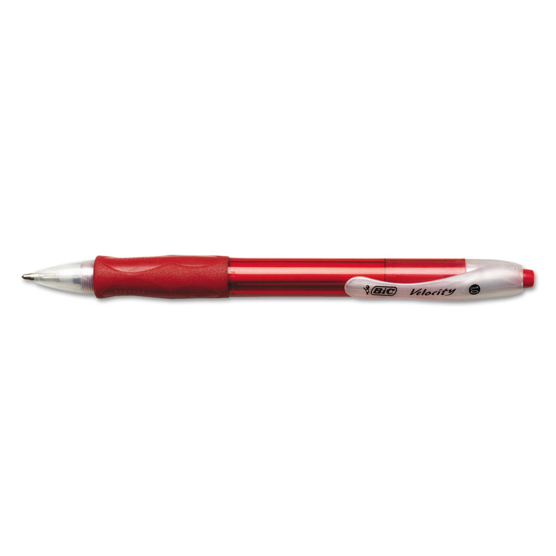 Velocity Retractable Ballpoint Pen, 1mm, Red Ink, Translucent Red Barrel, Dozen