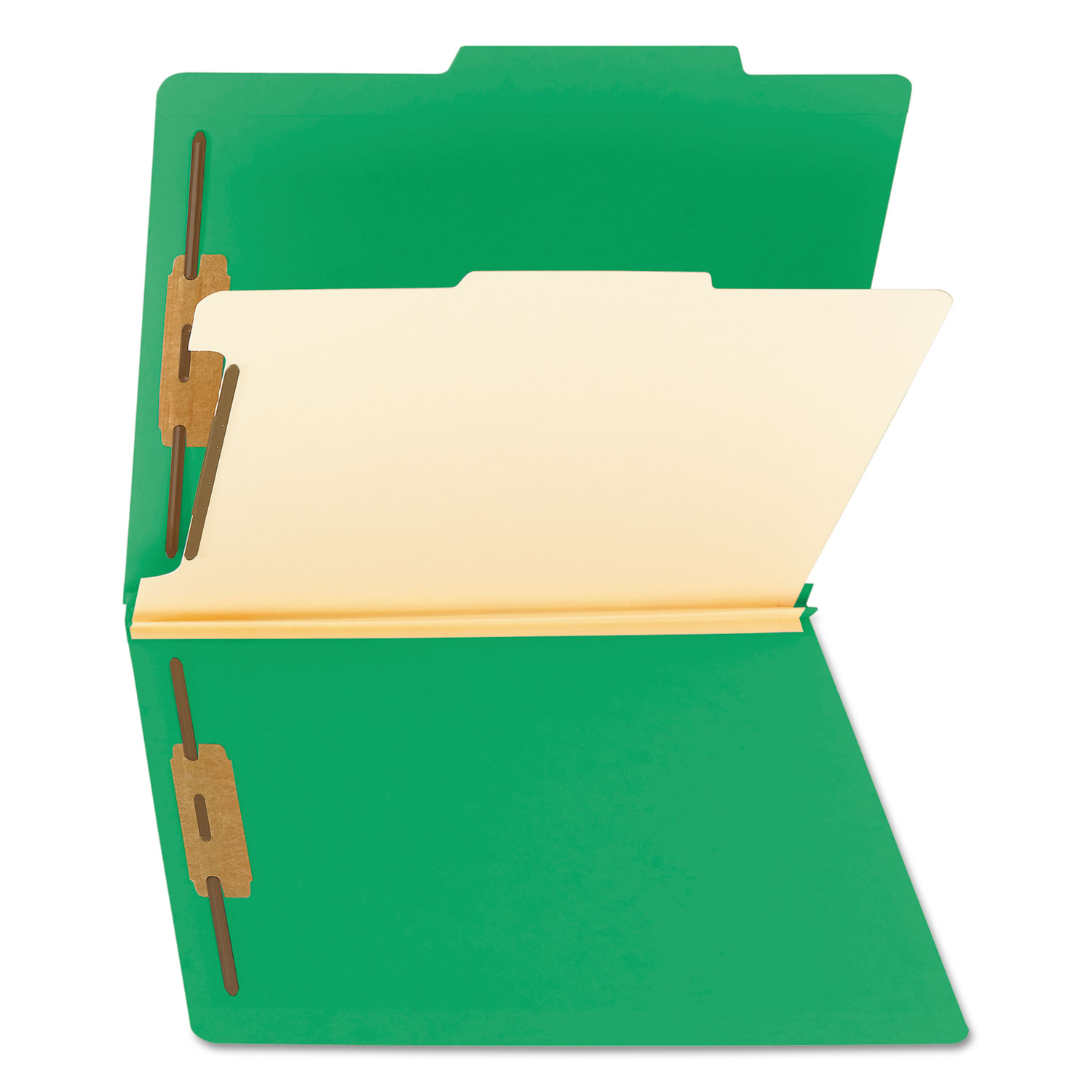 Green Letter Size Colored Top Tab Classification Folders 10//Box 1 Divider