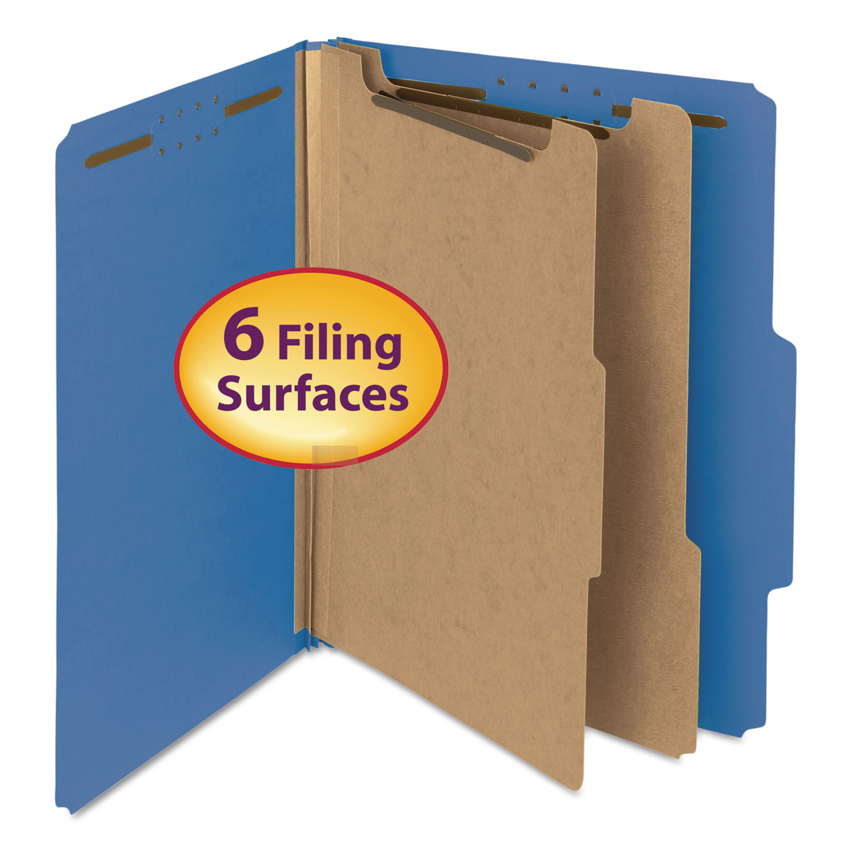 100% Recycled Pressboard Classification Folders, 2 Dividers, Letter Size, Dark Blue, 10/Box