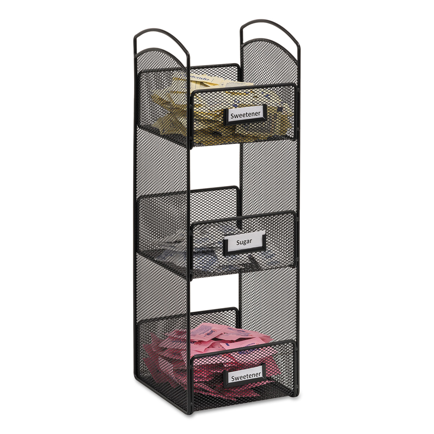 Onyx Breakroom Organizers, 3 Compartments, 6 X 6 X 18, Steel Mesh, Black
