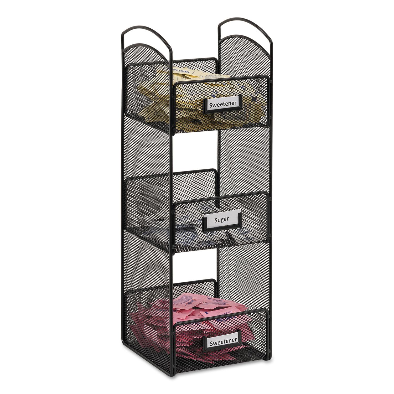 Onyx Breakroom Organizers, 3 Compartments, 6 X 6 X 18, Steel Mesh, Black