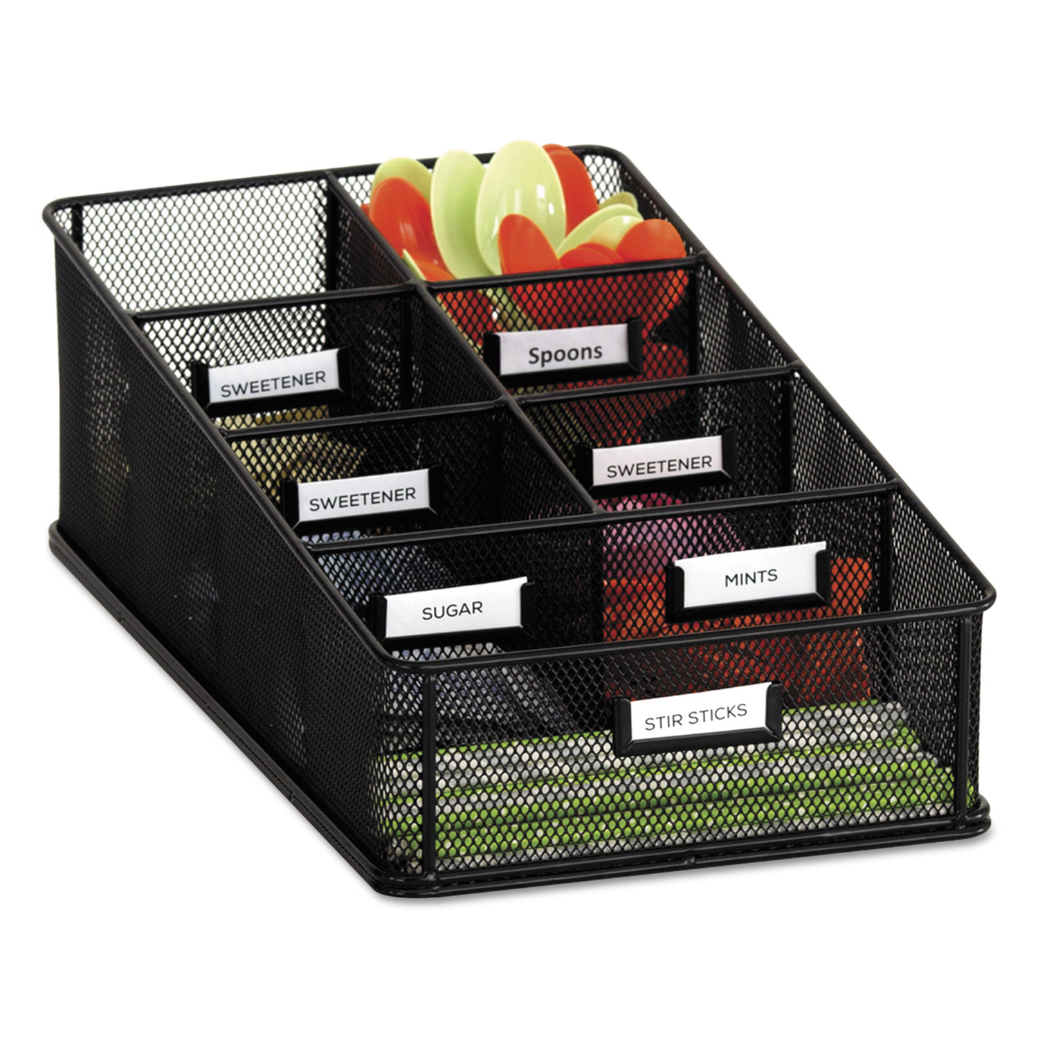 Onyx Breakroom Organizers, 7 Compartments, 16 X8 1/2×5 1/4, Steel Mesh, Black