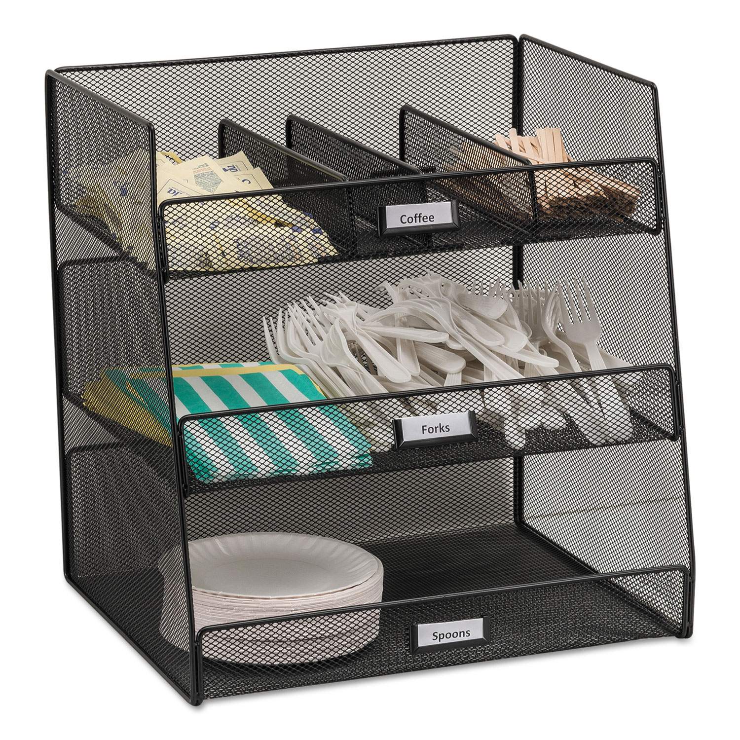 Onyx Breakroom Organizers, 3 Compartments,14.625×11.75×15, Steel Mesh, Black