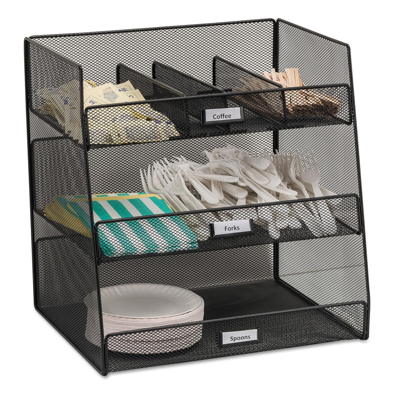 Onyx Breakroom Organizers, 3 Compartments,14.625×11.75×15, Steel Mesh, Black