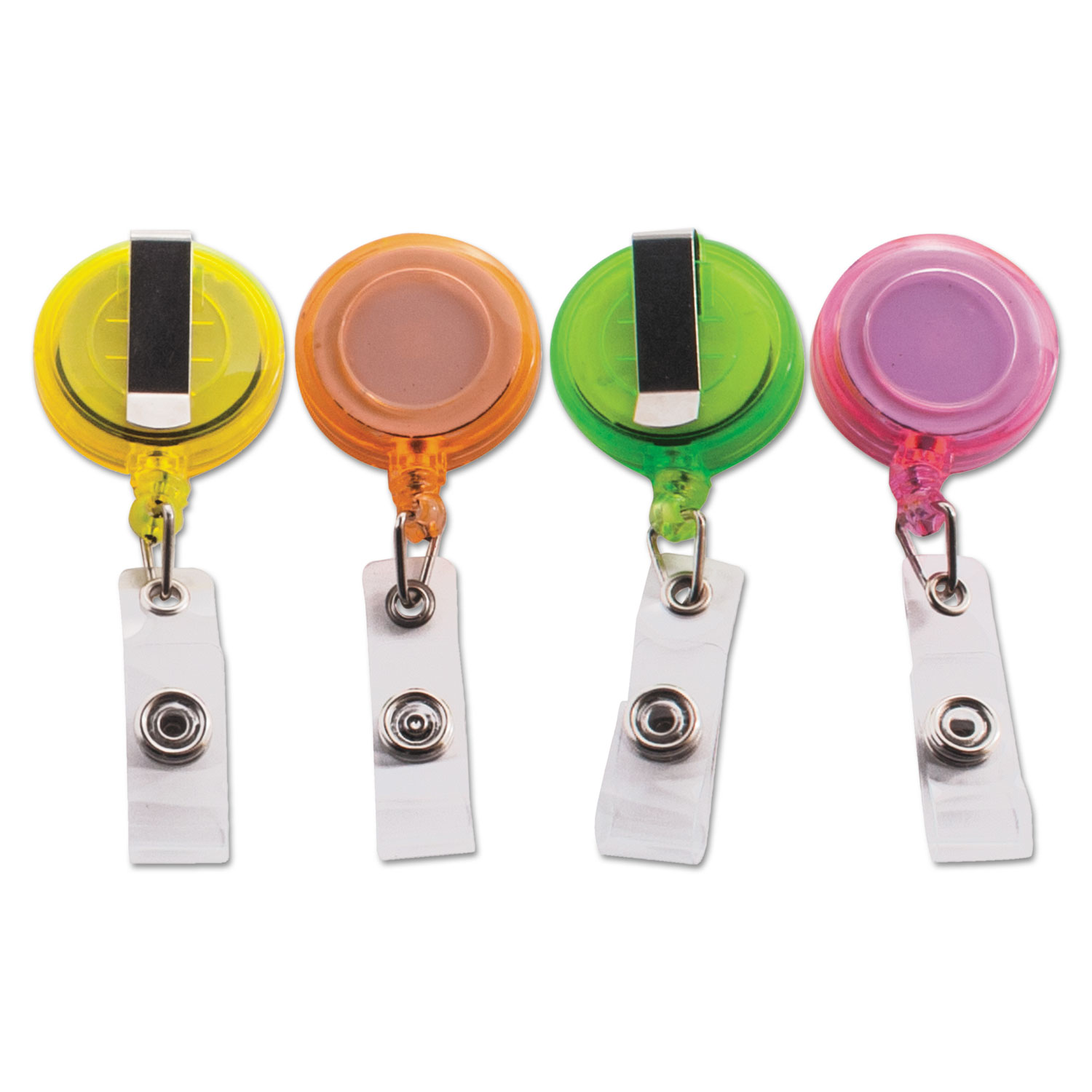 """Deluxe Retractable ID Card Reel, 30"""" Extension, Assorted Colors, 20/Pack"""
