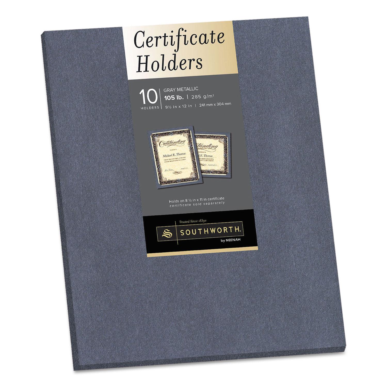 Certificate Holder, Gray, 105lb Linen Stock, 12 x 9 1/2, 10/Pack