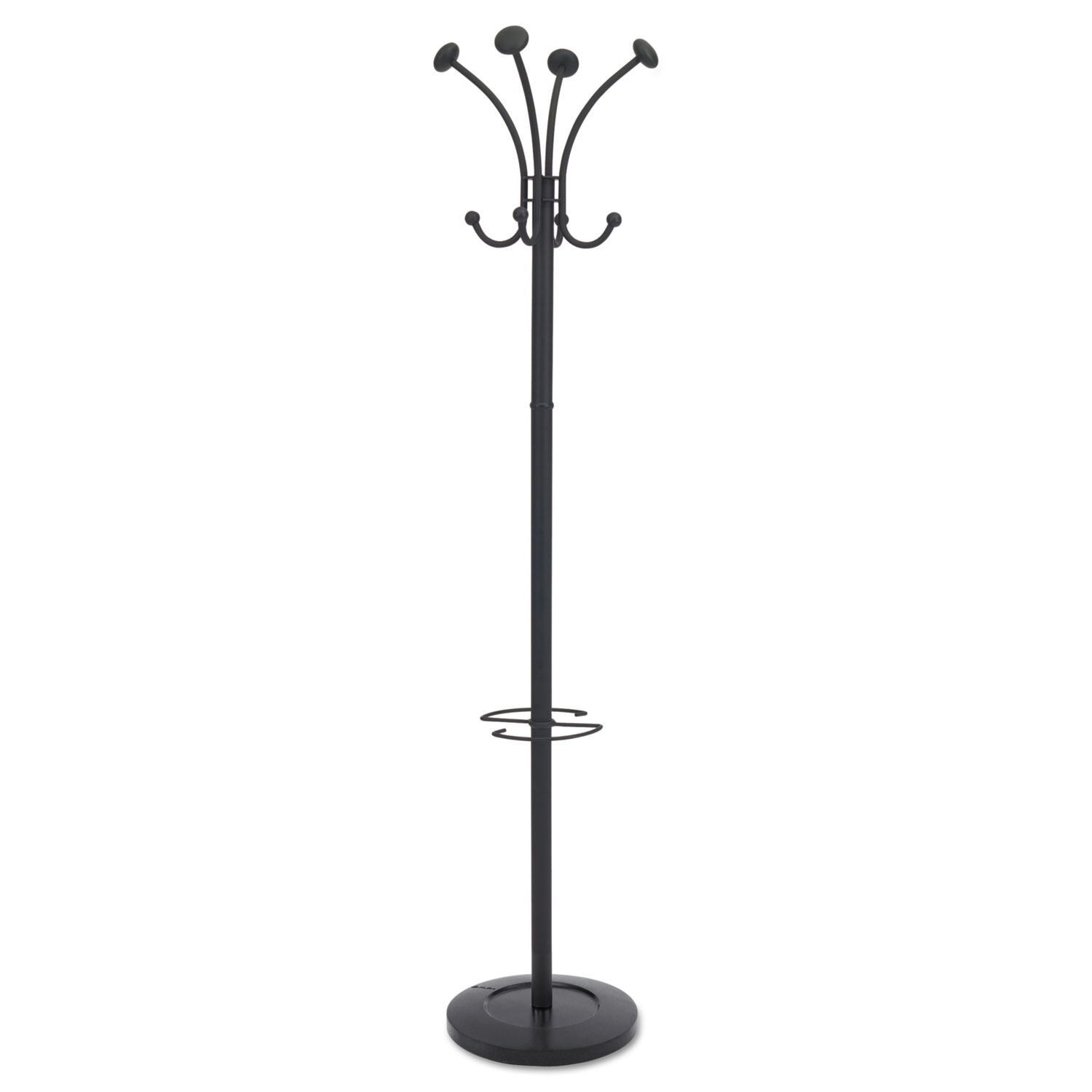Viena Coat Stand, Eight Knobs, Steel, 16w x 16d x 70.5h, Black