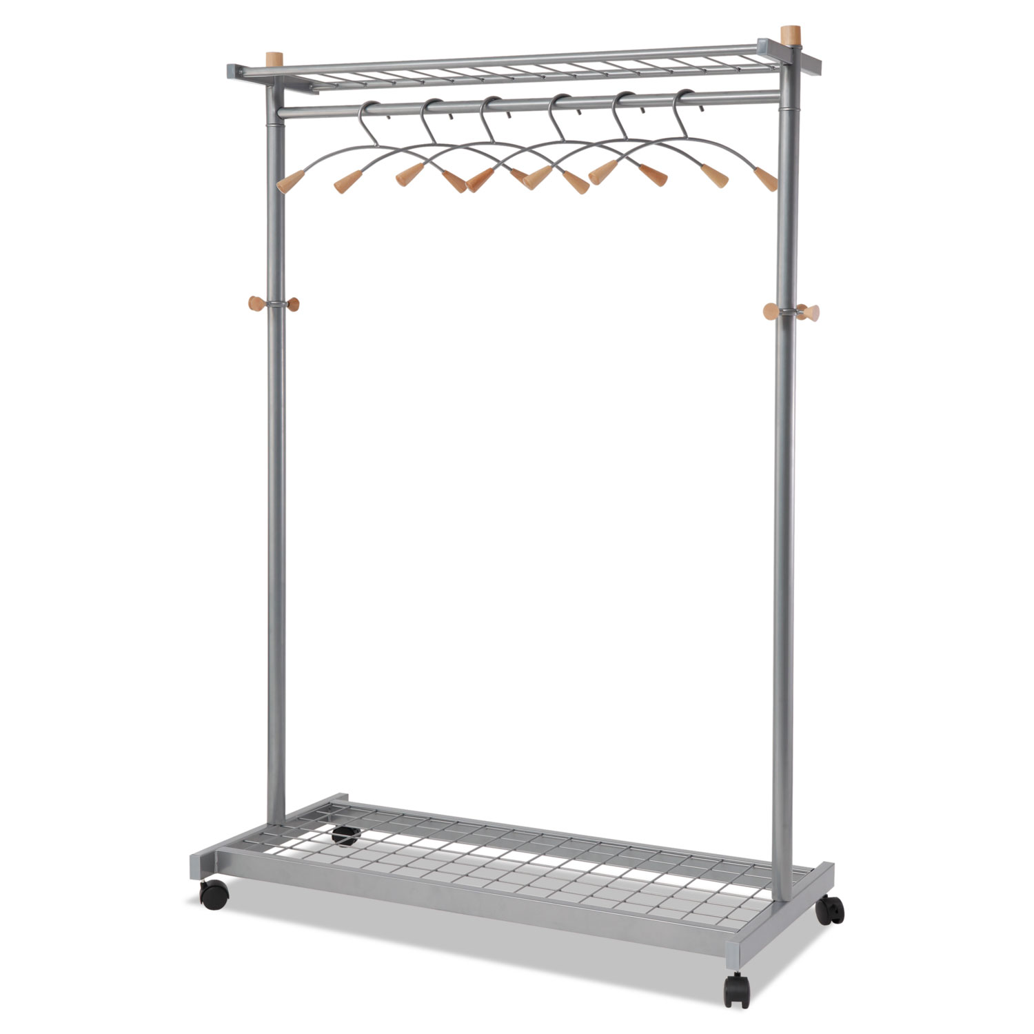 Garment Racks, Two-Sided, 2-Shelf Coat Rack, 6 Hanger/6 Hook, 44.8w x 21.67d x 70.8h, Silver Steel/Wood
