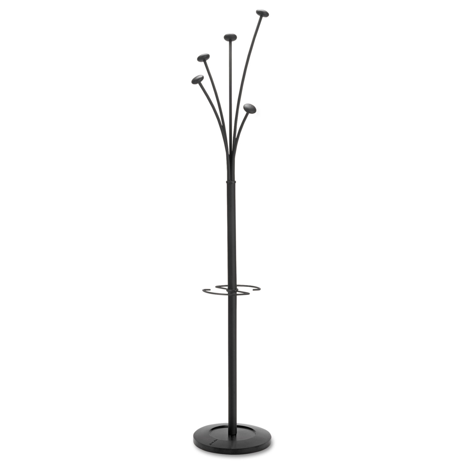 Festival Coat Stand with Umbrella Holder, 5 Knobs, 14w x 14d x 73.67h, Black