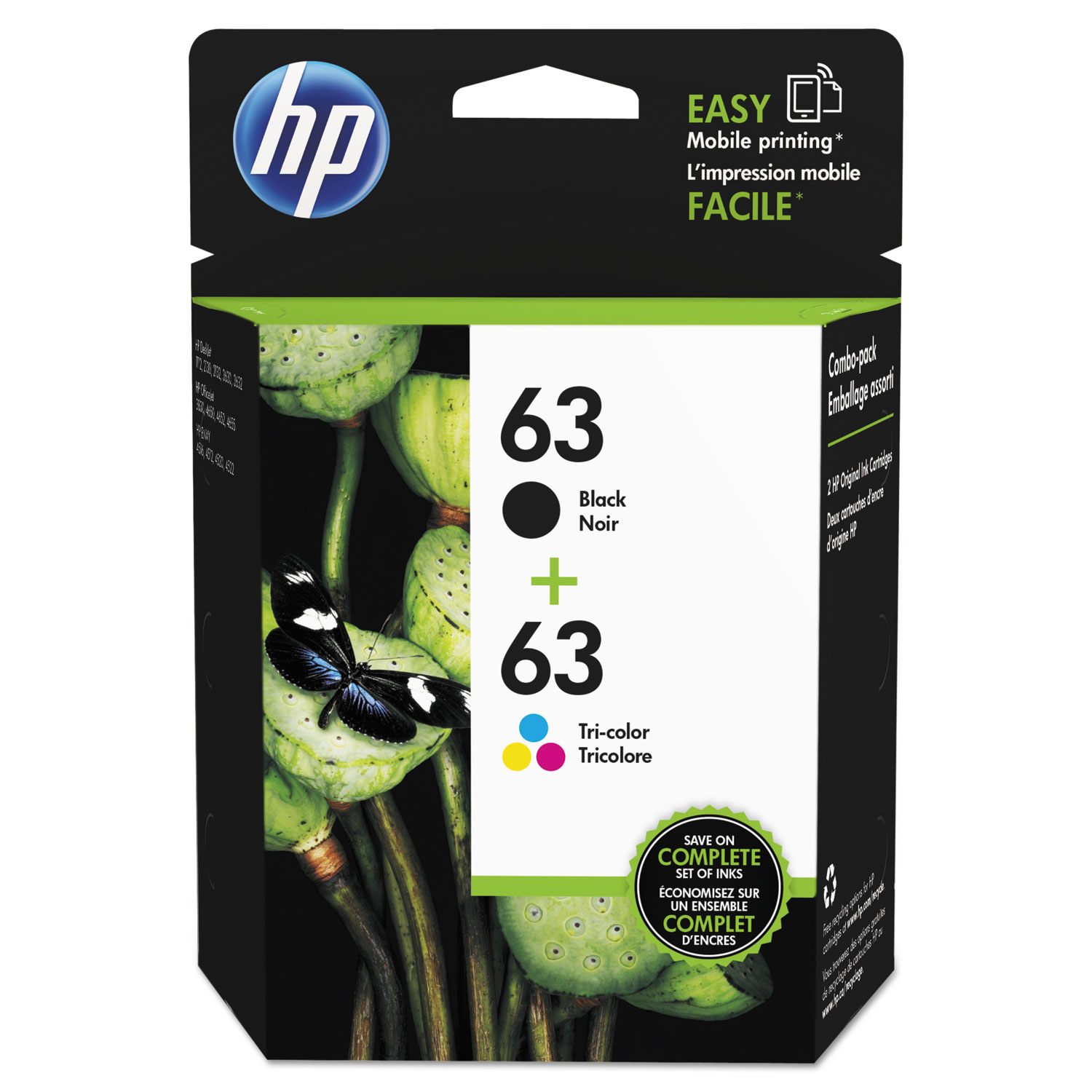 HP 63, L0R46AN 2-pack Black/Tri-Color Original Ink Cartridges