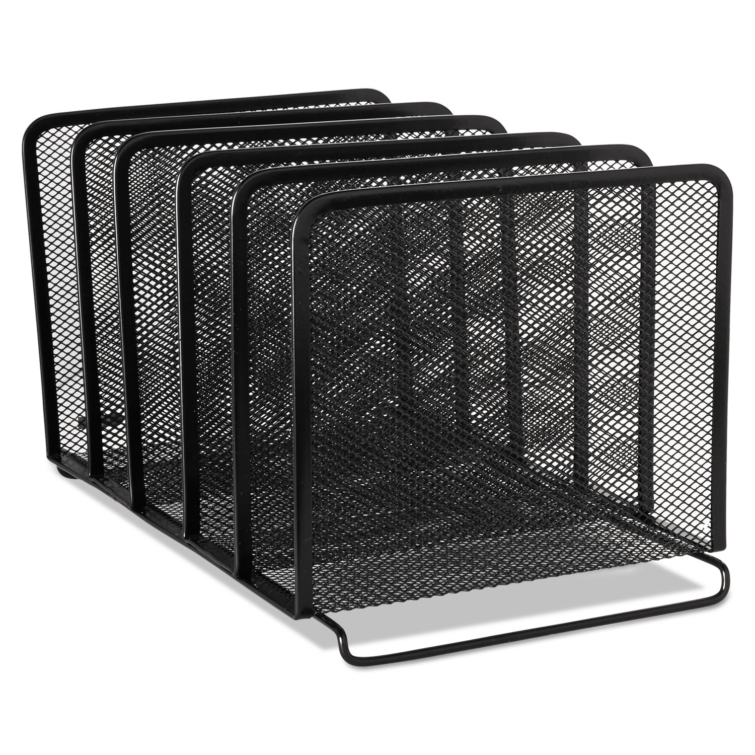 """Mesh Stacking Sorter, 5 Sections, Letter to Legal Size Files, 8.25"""" x 14.38"""" x 7.88"""", Black"""