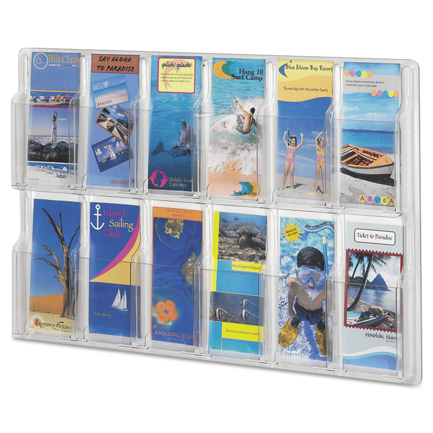 Reveal Clear Literature Displays, 12 Compartments, 30w x 2d x 20.25h, Clear