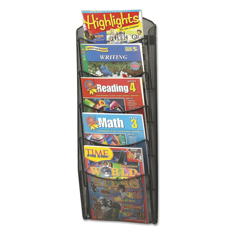 Onyx Mesh Literature Rack, Five Compartments, 10.25w x 3.5d x 28.33h, Black