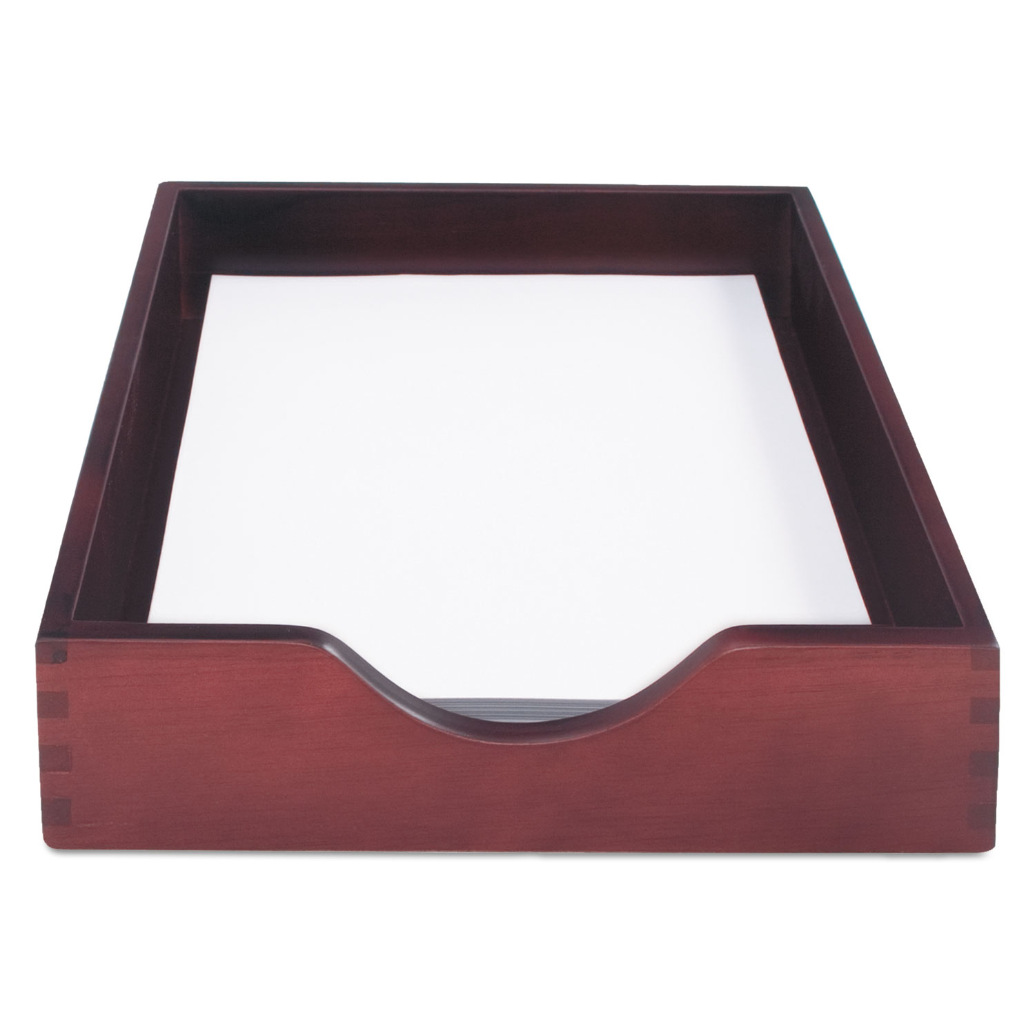 """Hardwood Stackable Desk Trays, 1 Section, Letter Size Files, 10.25"""" x 12.5"""" x 2.5"""", Mahogany"""