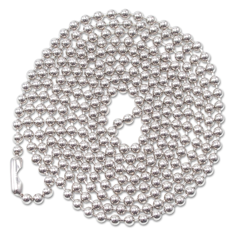 "ID Badge Holder Chain, Ball Chain Style, 36"" Long, Nickel Plated, 100/Box"