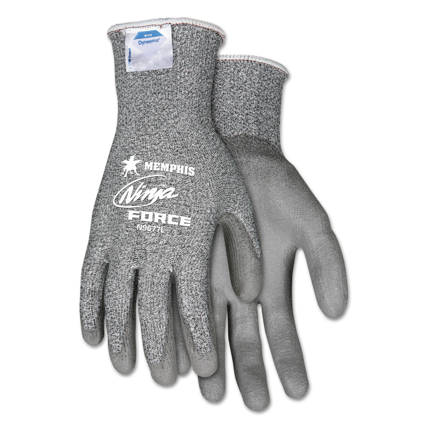 Ninja Force Polyurethane Coated Gloves, Small, Gray, Pair
