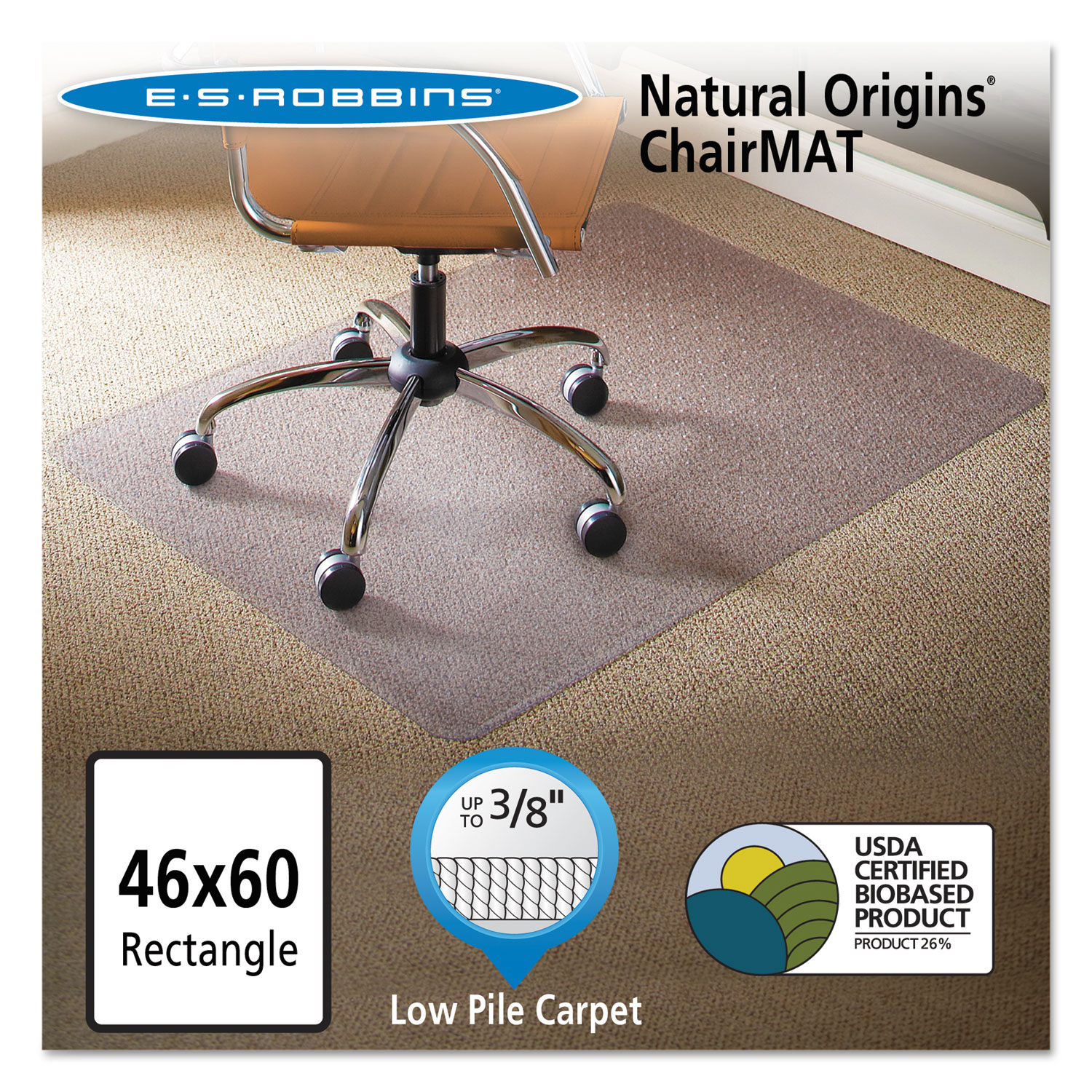 natural origins chair mat for carpet by es robbinsa esr141052
