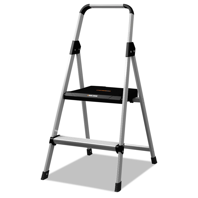 Aluminum Step Stool Ladder, 2-Step, 225 lb Capacity, 18.5w x 23.5 spread x 38.5h, Silver