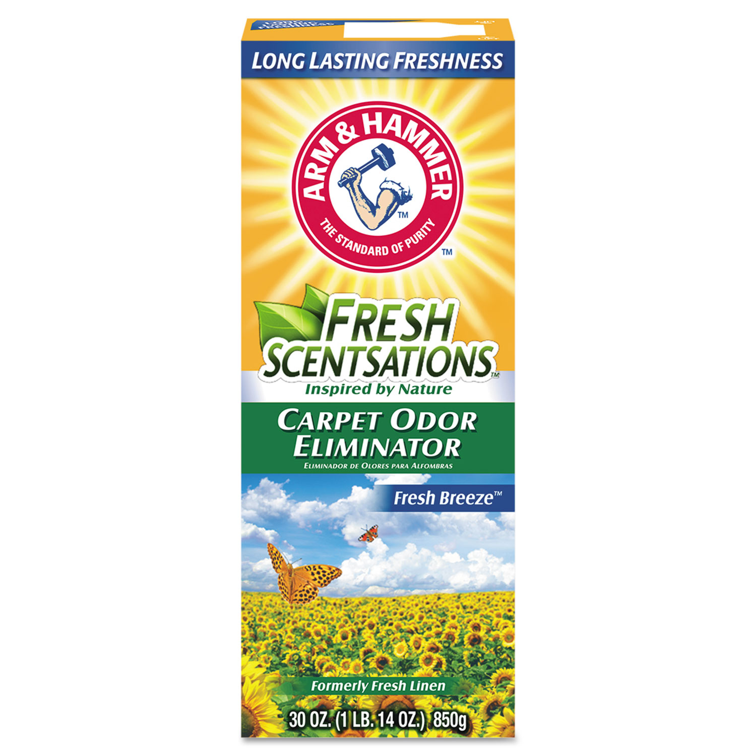 Fresh Scentsations Carpet Odor Eliminator, Fresh Breeze, 30 oz Box, 6/Carton