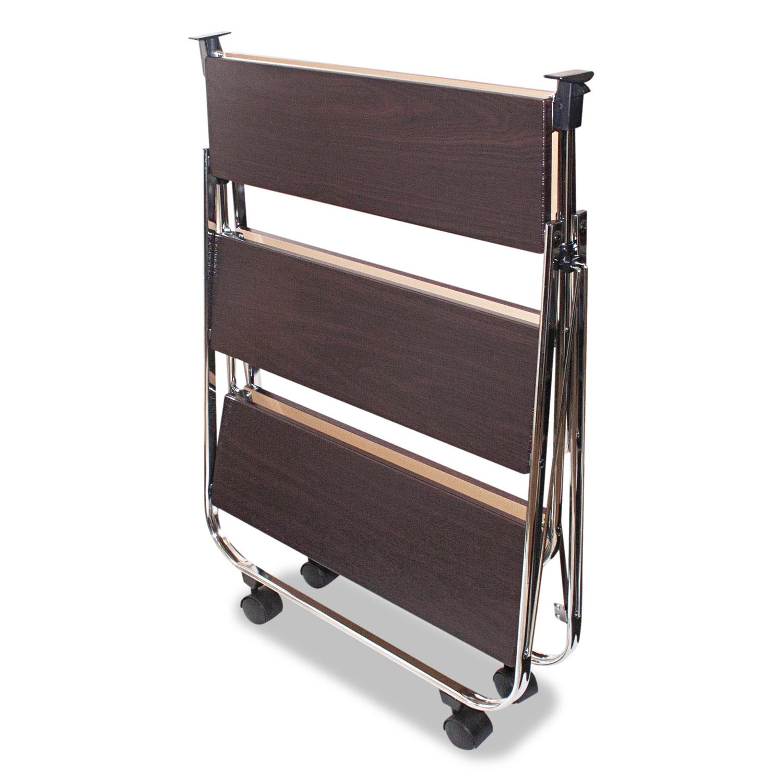 Click-N-Fold Utility Cart, 26 1/2w x 15 3/4d x 31 1/2h, Chrome/Brown