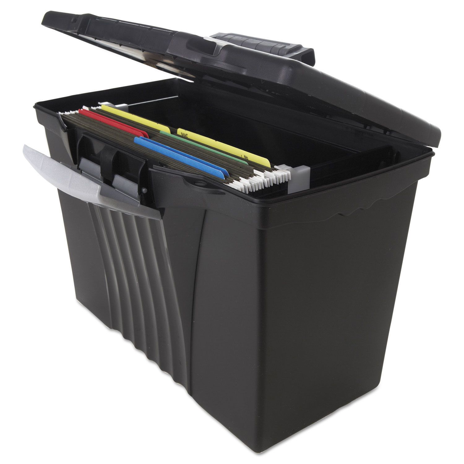 Portable File Storage Box W Organizer Lid By Storex