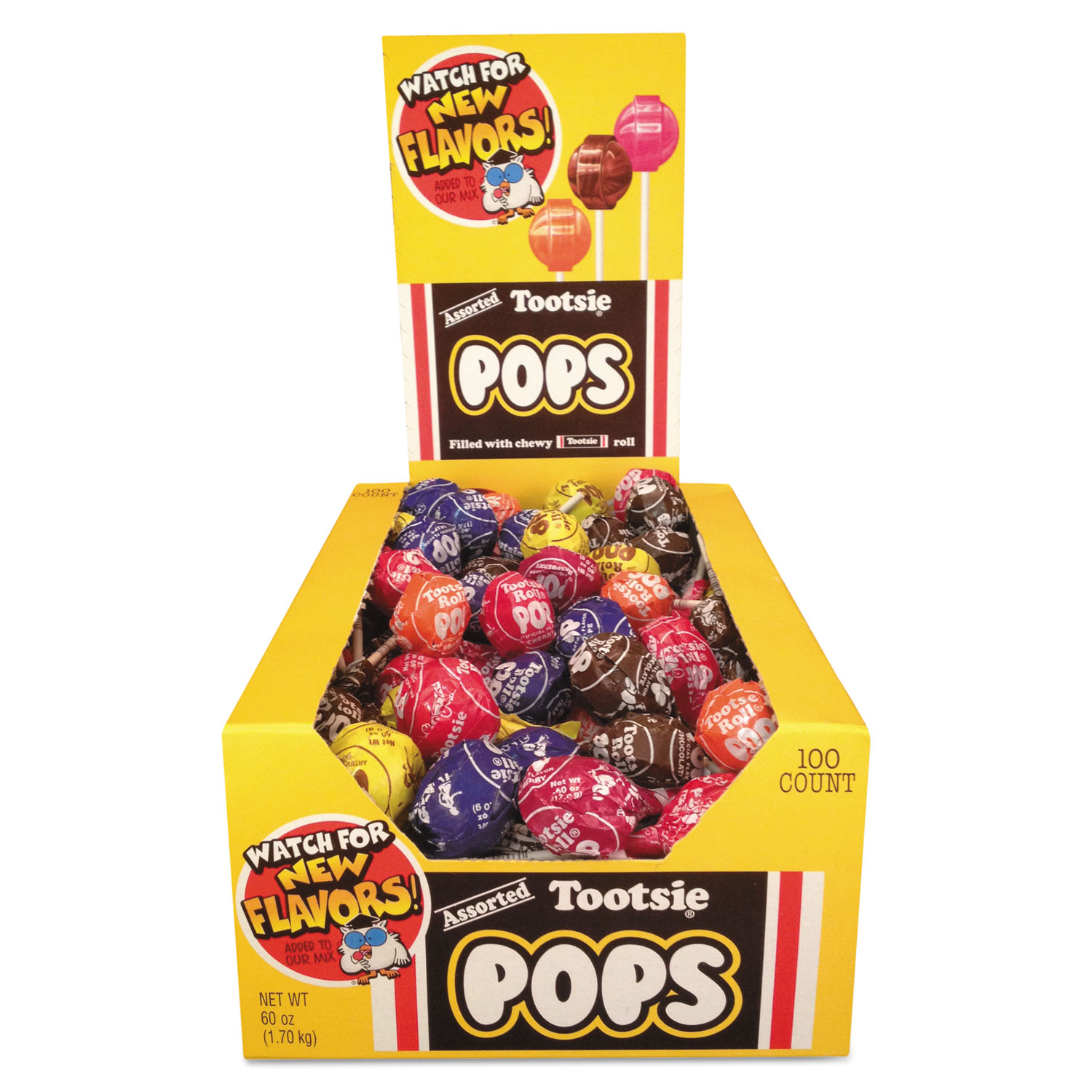 Tootsie Pops, 0.76 oz, Assorted Flavors, 100/Box