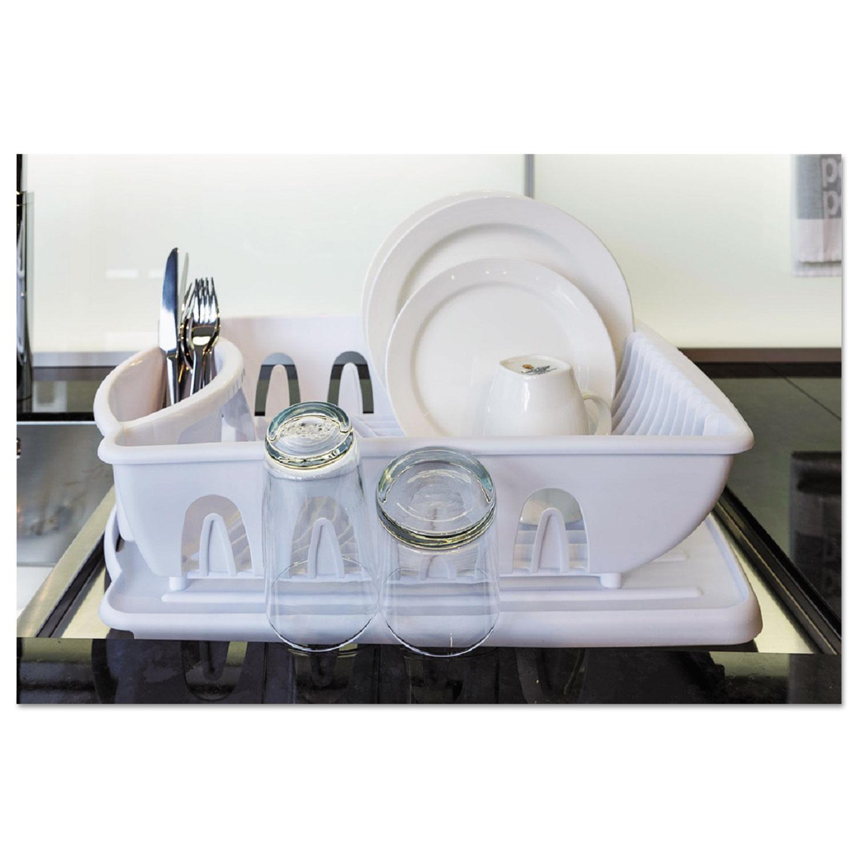 2-Piece Drain Rack Sink Set, White, Plastic, 14 5/8 x 21 x 3 1/2