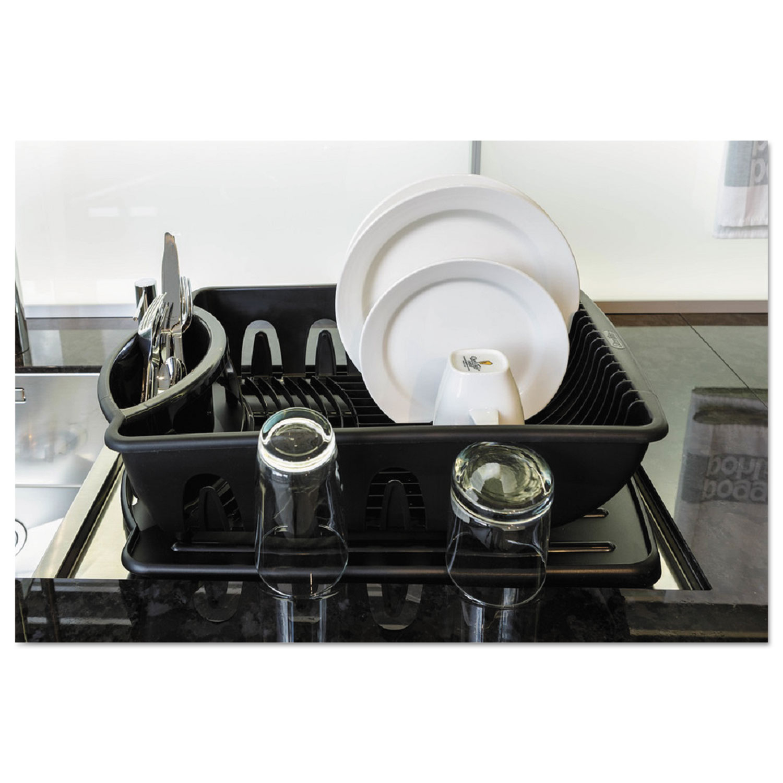 2-Piece Drain Rack Sink Set, Black, Plastic, 14 5/8 x 21 x 3 1/2