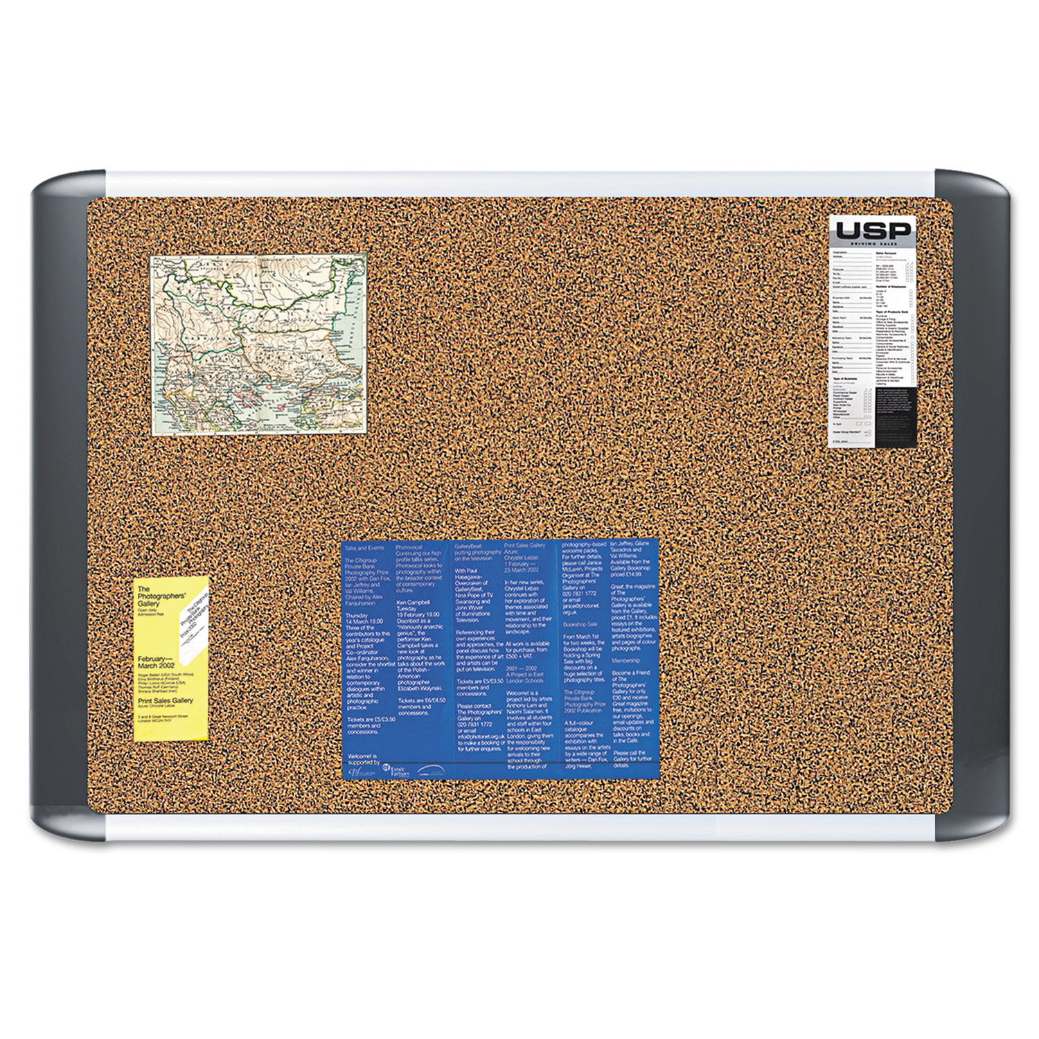 Tech Cork Board 24x36 Silver Black Frame