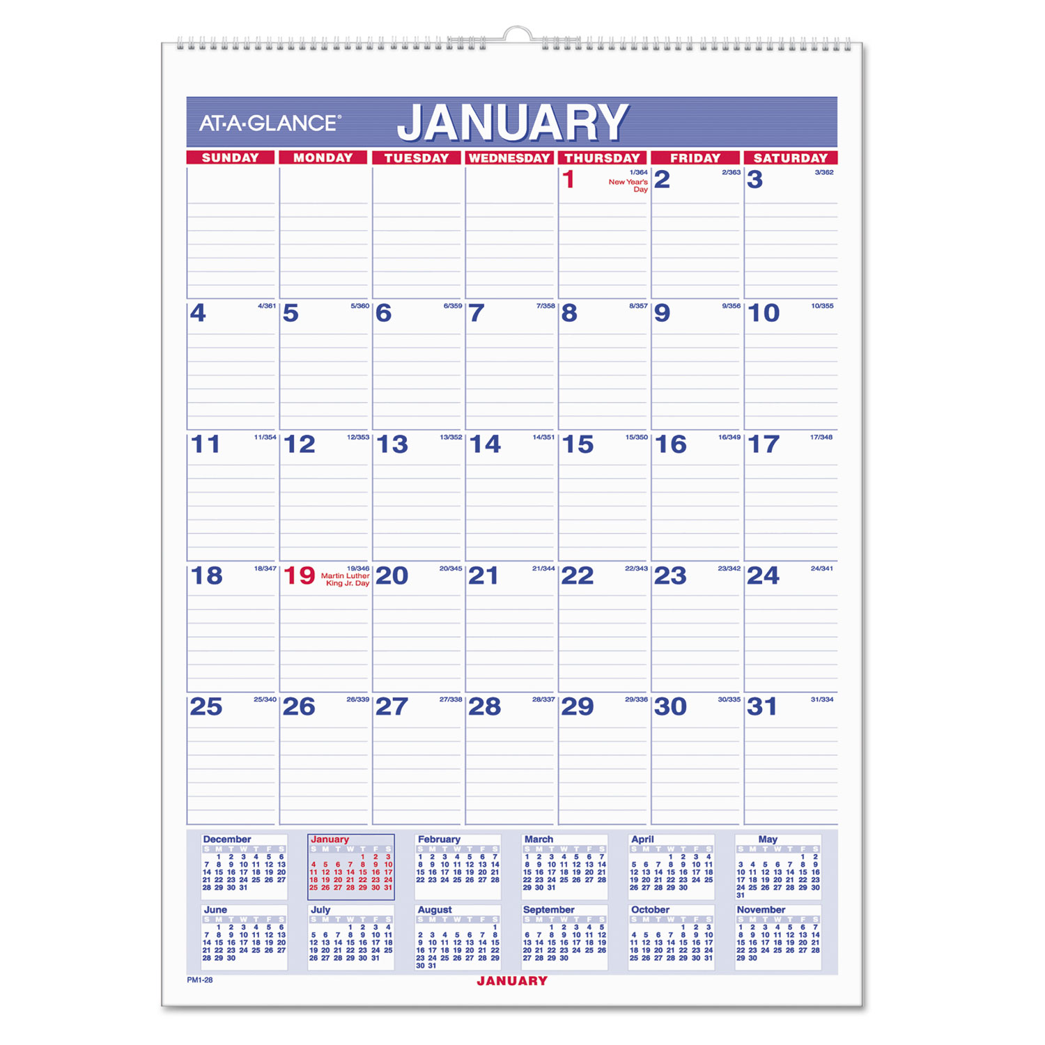 Monthly Wall Calendar with Ruled Daily Blocks by ATAGLANCE