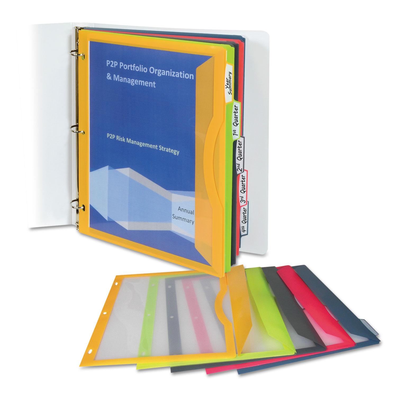 Binder Pocket With Write-On Index Tabs, 9.88 x 11.38, Assorted, 5/Set