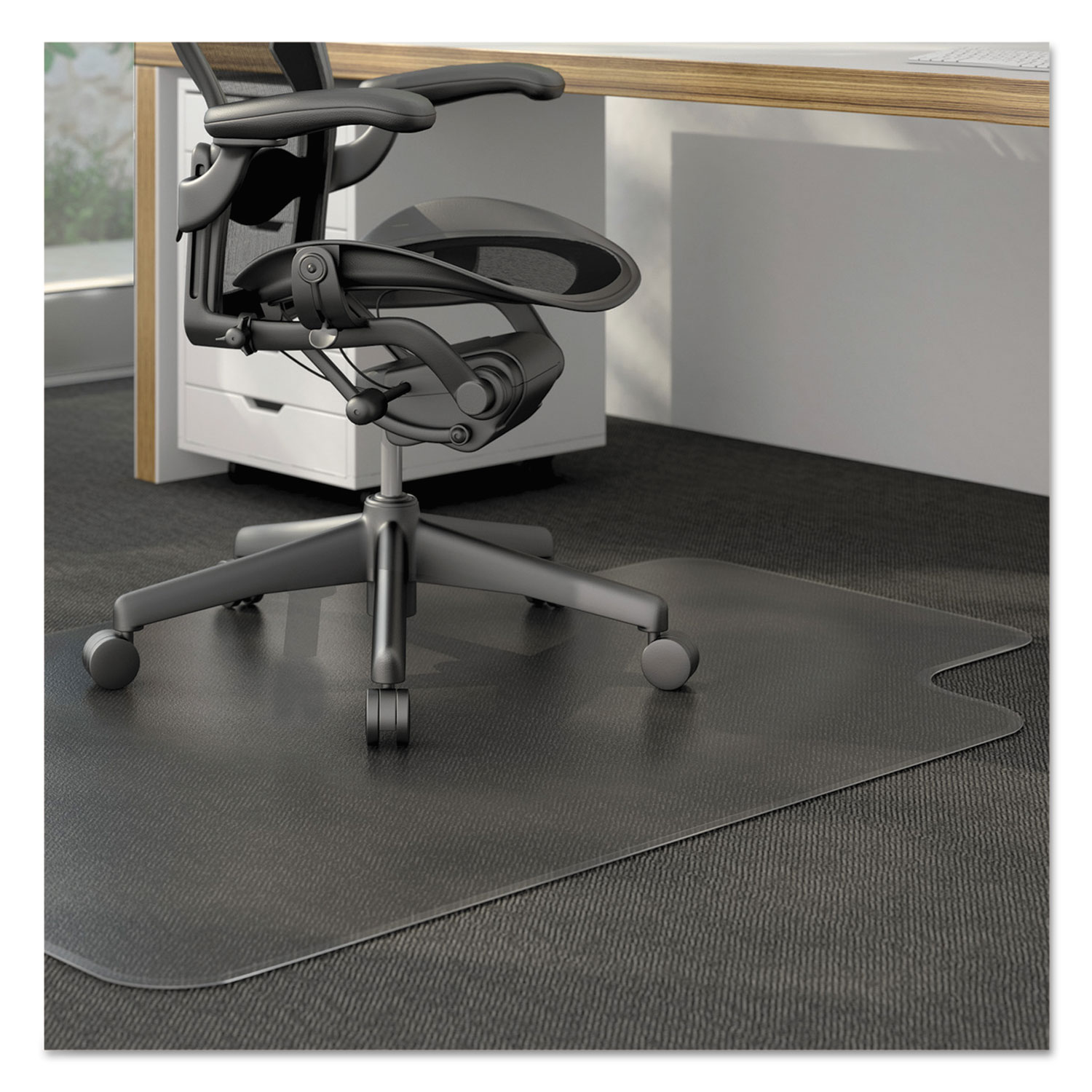 Cleated Chair Mat for Low and Medium Pile Carpet by Alera ...