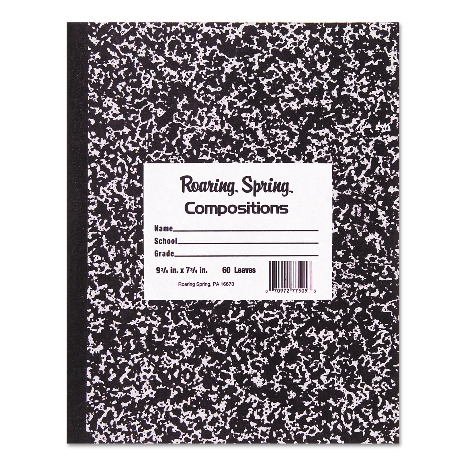 Marble Cover Composition Book, Wide/Legal Rule, Black Cover, 8.5 x 7, 36 Sheets
