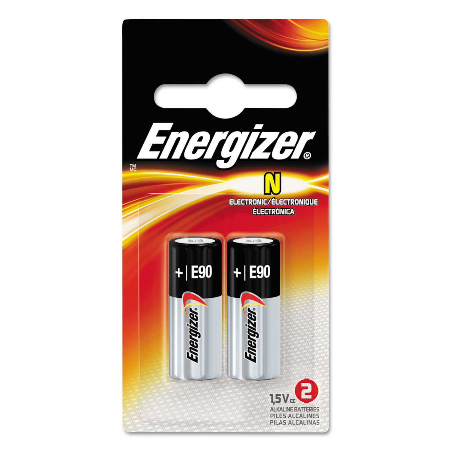 E90BP-2 Alkaline Batteries, 1.5V, 2/Pack
