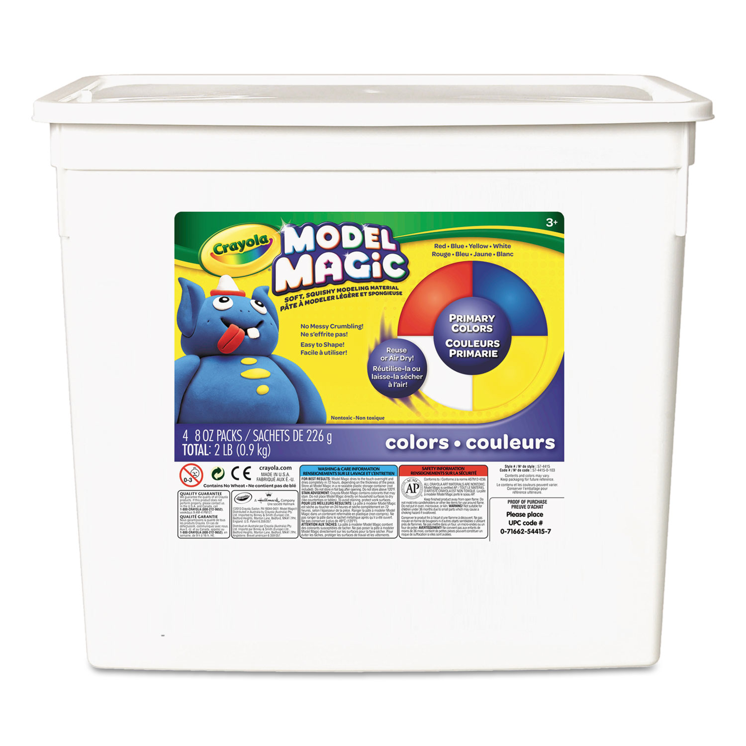 Model Magic Modeling Compound, 8 oz each Blue/Red/White/Yellow, 2lbs.