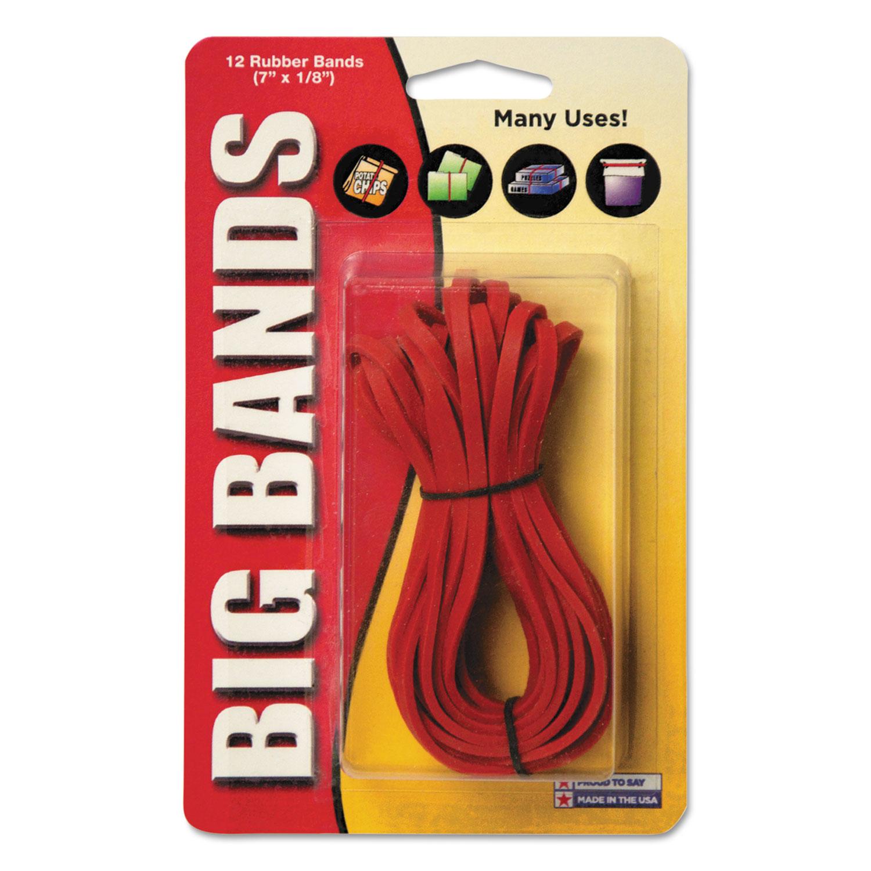 "Big Bands Rubber Bands, Size 117B, 0.06"" Gauge, Red, 12/Pack"