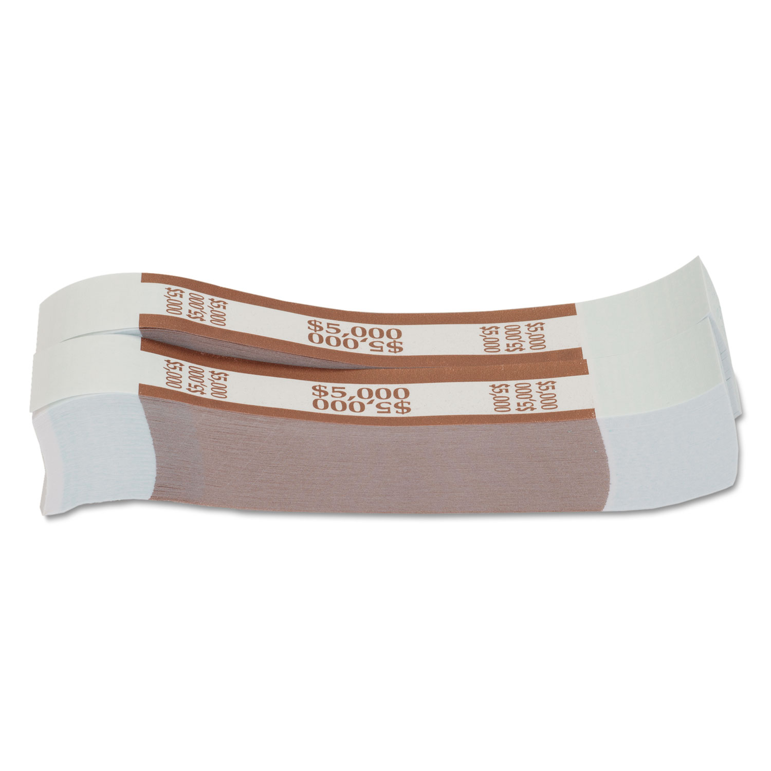 Currency Straps, Brown, $5,000 in $50 Bills, 1000 Bands/Pack
