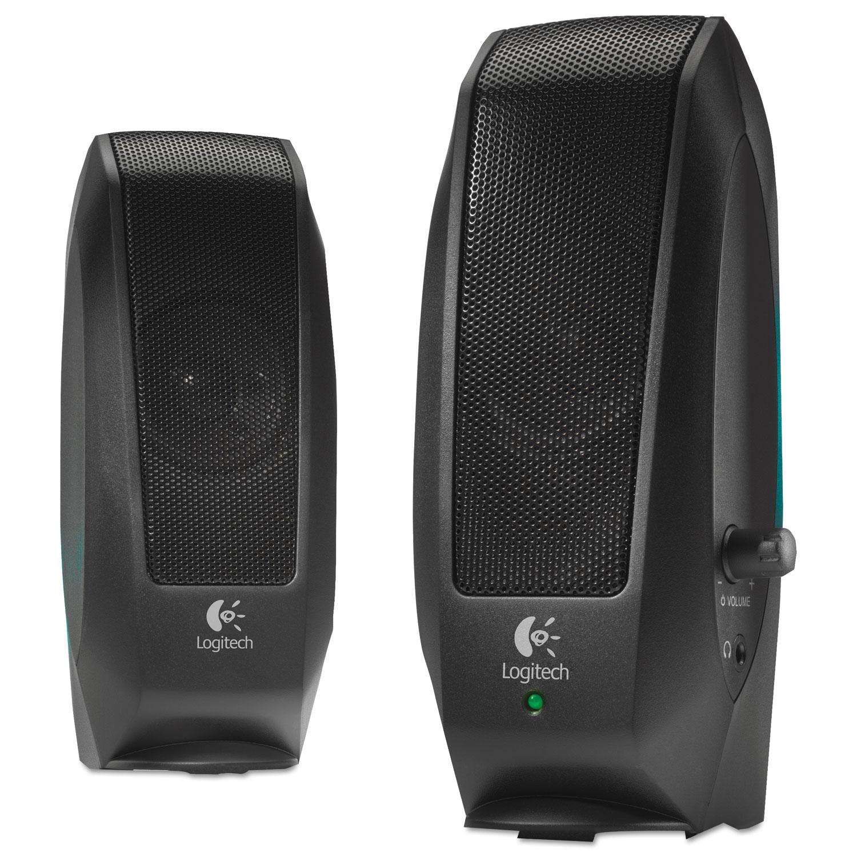 Logitech 980 000012 s120 2 piece black desktop computer speaker set - S120 2 0 Multimedia Speakers Black Log980000012 Thumbnail 1 Log980000012 Thumbnail 2