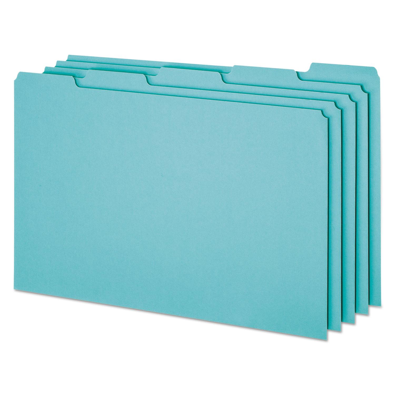 Blank Top Tab File Guides, 1/5-Cut Top Tab, Blank, 8.5 x 14, Blue, 50/Box