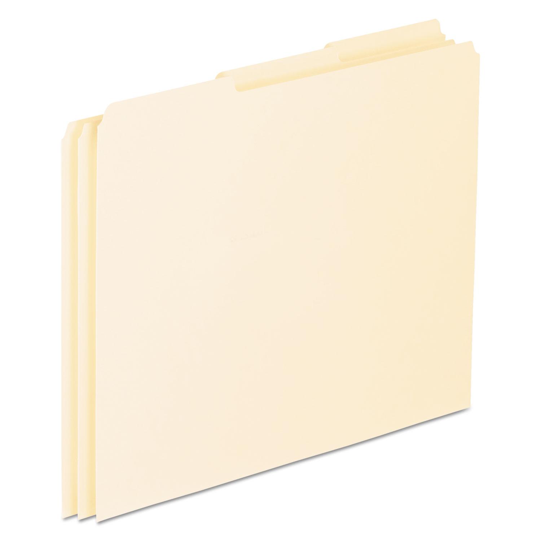 Blank Top Tab File Guides, 1/3-Cut Top Tab, Blank, 8.5 x 11, Manila, 100/Box