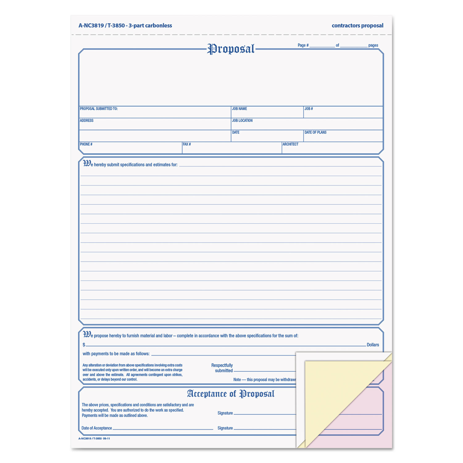 Contractor Proposal Form by Adams ABFNC3819 OnTimeSupplies – Proposal Form