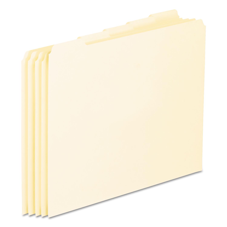 Blank Top Tab File Guides, 1/5-Cut Top Tab, Blank, 8.5 x 11, Manila, 100/Box