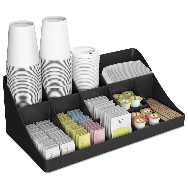11-Compartment Coffee Condiment Organizer, 18 1/4 X 6 5/8 X 9 7/8, Black