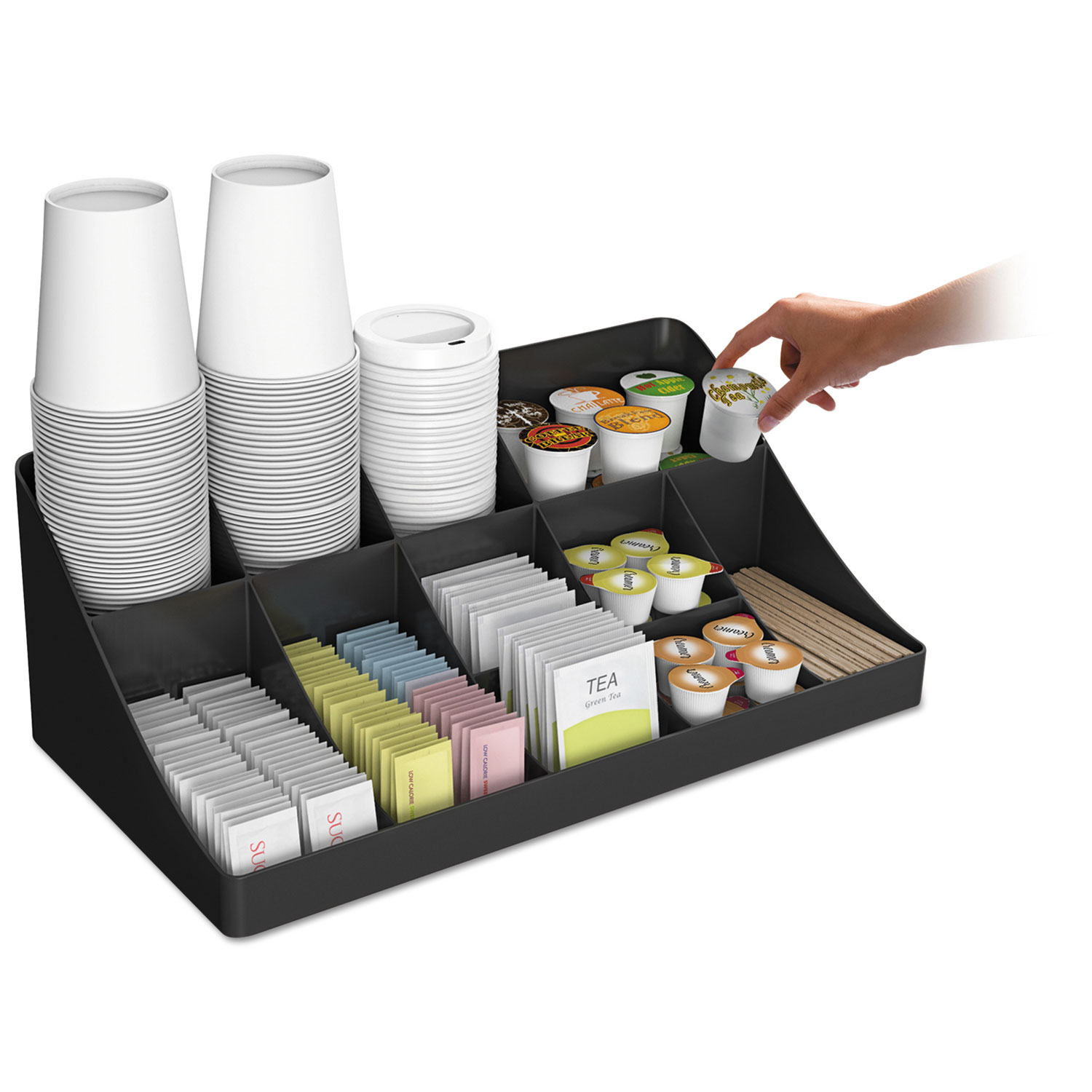 11 compartment coffee condiment organizer by mind reader for Regalos oficina