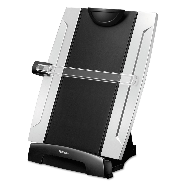 Office Suites Desktop Copyholder, Plastic, 150 Sheet Capacity, Black/Silver